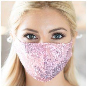 BLUSH PINK | Sequin glitter mask